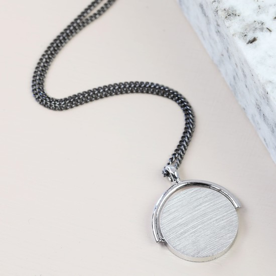 Men's Silver Spinning Disc Necklace