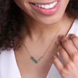Personalised Delicate Semi-Precious Stone Chevron Necklace on Model
