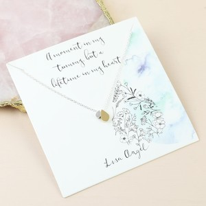 Mother & Baby Double Droplet Necklace in Silver and Gold on Card
