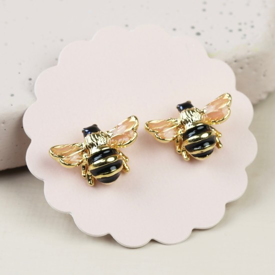 Small Bee Stud Earrings in Gold