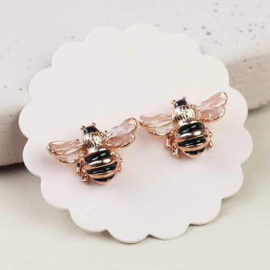 Small Bee Stud Earrings in Rose Gold