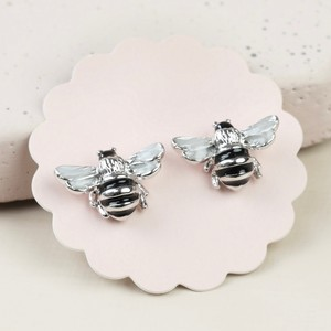 Small Bee Stud Earrings in Silver