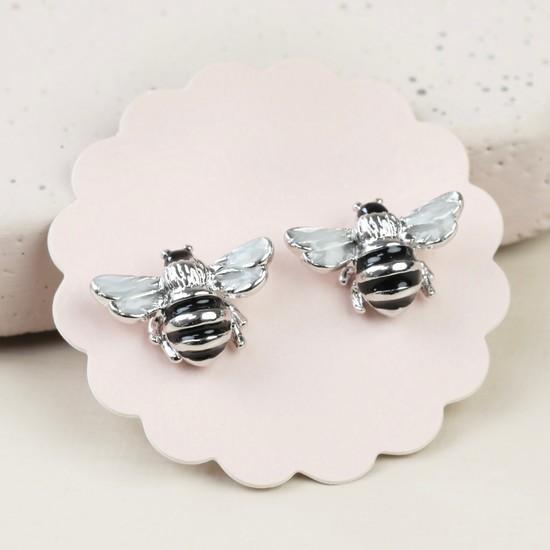 Small Bee Stud Earrings in Silver