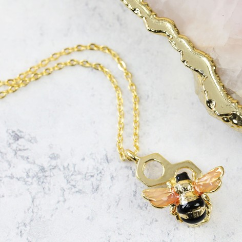 necklace gold bumble by bumblebee in bianca original jewellery biancajones jones bee product solid