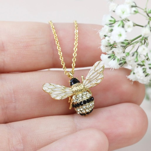 Big crystal bee pendant necklace in gold lisa angel jewellery large crystal bumblebee pendant necklace aloadofball Gallery