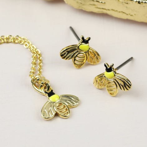 silver necklace gold bumblebee zoom loading plate sterling vermeil hiho necklaces