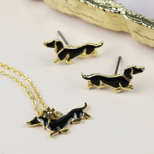 Lisa Angel Ladies  Sausage Dog Necklace and Earrings Set da8e1d833