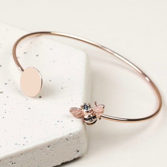 Disc and Bee Open Bangle in Rose Gold