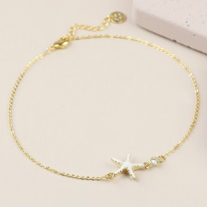 Enamel Starfish Anklet in Gold