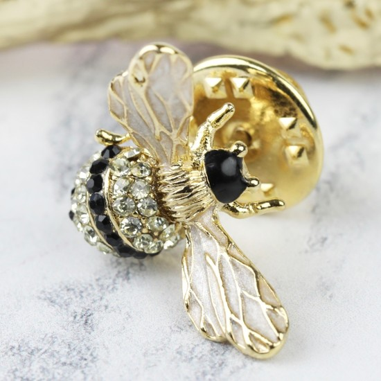 Enamel and Crystal Bumblebee Pin