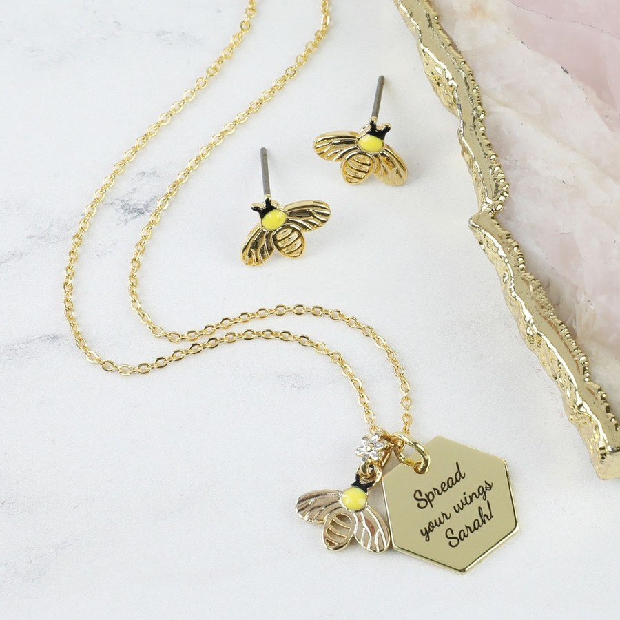 gold product handmade personalised s rose it bumble necklace bee bumblebee