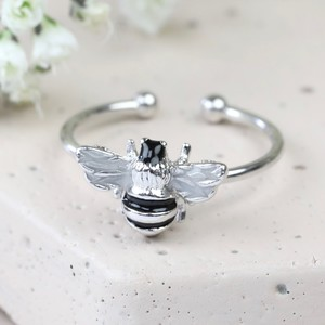 Adjustable Bee Ring in Silver