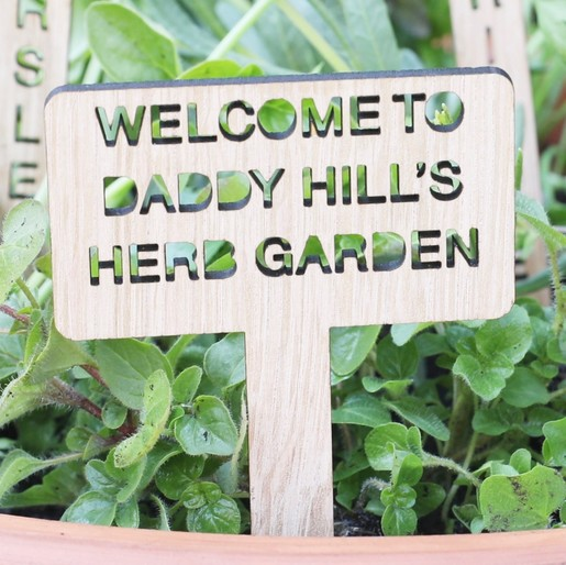 Lisa Angel Laser Cut Handmade Set Of 7 Personalised Wooden Herb Garden  Markers