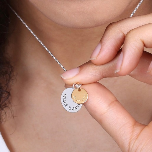 0ff914e653358 Personalised Sterling Silver Double Disc Pendant Necklace