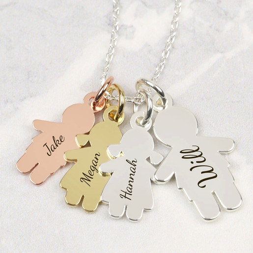 Personalised family necklace lisa angel jewellery ladies personalised 4 people family necklace aloadofball Image collections
