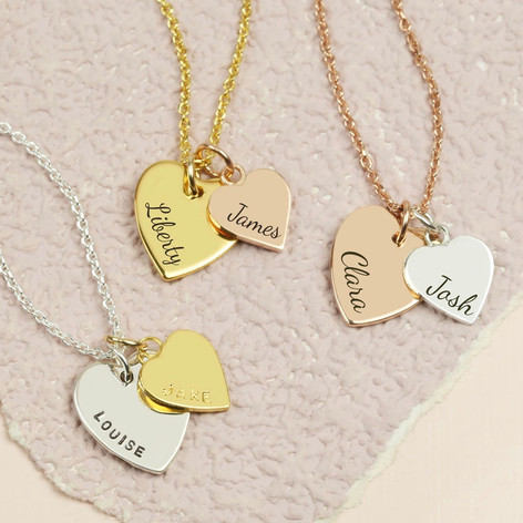 heart plated pendant gold double neckalce