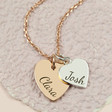 Ladies' Personalised Sterling Silver Double Heart Pendant Necklace