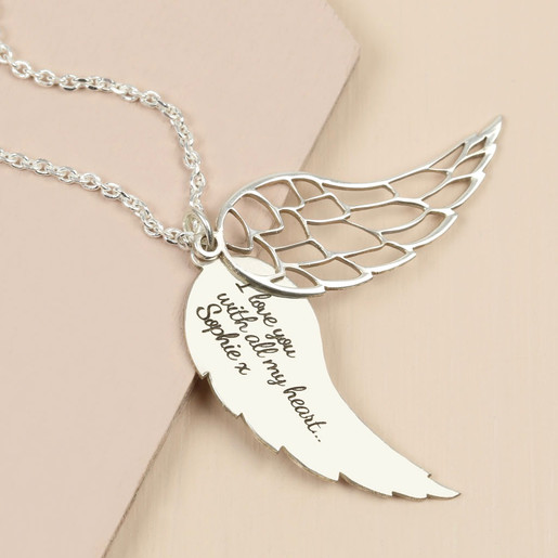 e0c11171168 Personalised Sterling Silver Wing Charm Necklace | Lisa Angel