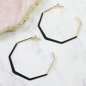 Matt Black and Gold Octagonal Hoop Earrings
