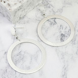 Silver Circle Statement Drop Earrings