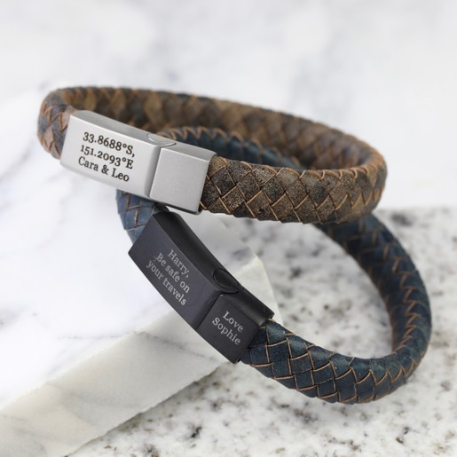 f733e74846fd2 Men's Personalised Antiqued Woven Leather Bracelet