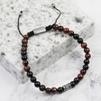 Lisa Angel Men's Personalised Semi-Precious Men's Tiger Eye and Onyx Stone Adjustable Bracelet