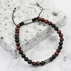 Tiger Eye & Onix stone Men's Adjustable bar bracelet