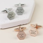 Personalised Brushed Hexagon Cufflinks