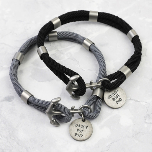 1e842ccfeae Lisa Angel Personalised Sentimental Men's Rope and Anchor Bracelets