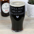 Men's Engraved 'Will You Beer My Valentine' Pint Glass
