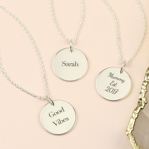 fdc19864d7e7d7 Lisa Angel Ladies' Personalised Engraved Sterling Silver Disc Necklace