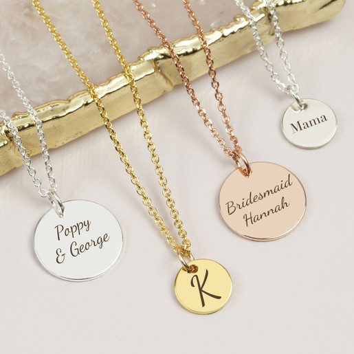 Personalised Womens 3 Ring Disc Pendant Necklace Silver Plated Engraved Free UK