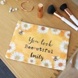 Lisa Angel Personalised Ladies' 'You Look Bee-utiful' Daisy and Bee Makeup Pouch
