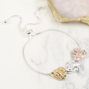 Silver Mixed Metal Heart Bracelet