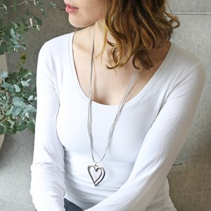 Long Grey Cord & Silver Double Heart Necklace