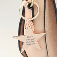 Rose Gold Engraved Personalised Shiny Star Keyring