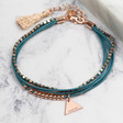 Women's Delicate Layered Bead and Leather Bracelet in Rose Gold and Teal