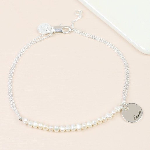 721d48cc86506 Personalised Seed Pearl and Chain Bridesmaid Bracelet