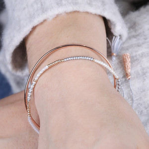 Layered Bangle and Beaded Bracelet in Blue and Rose Gold