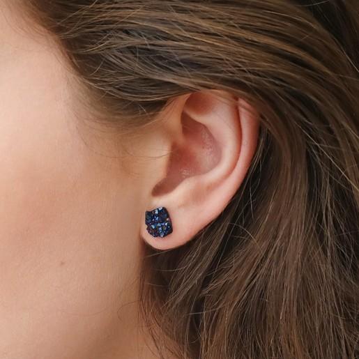 0be56898482 Large Navy Druzy Crystal Stone Earrings   Lisa Angel Jewellery