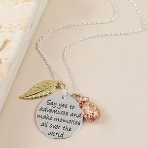 Say yes to adventures Silver Necklace