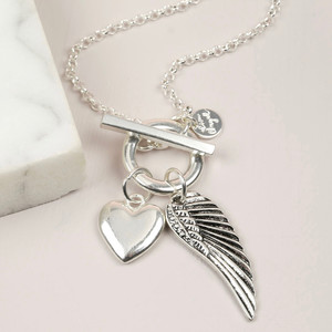 Long Wing and Heart Toggle Necklace in Silver