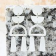 Ladies' Geometric Shapes Drop Earrings in Silver