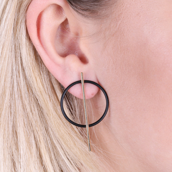 Circle & Bar Stud Earrings in Gold and Black