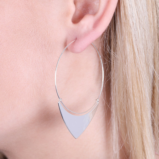 811ca39fc3cce Triangle Hoop Earrings in Silver