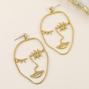 Winking Face Drop Earrings in Gold