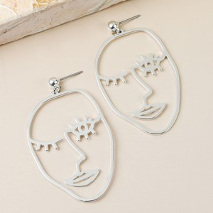 Winking Face Drop Earrings in Silver