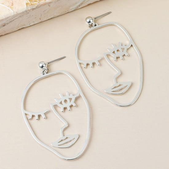 Winking Face Drop Earrings in Silver