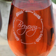 Close up of Personalised Name Garland Wine Glass