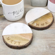 Lisa Angel Rustic Stylish Personalised Bark and Marble Coaster